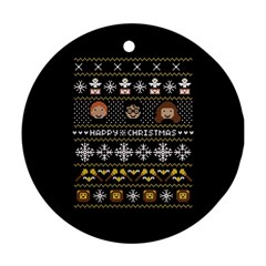 Merry Nerdmas! Ugly Christma Black Background Round Ornament (two Sides)  by Onesevenart