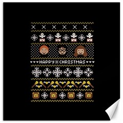 Merry Nerdmas! Ugly Christma Black Background Canvas 20  X 20   by Onesevenart