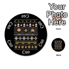 Merry Nerdmas! Ugly Christma Black Background Playing Cards 54 (round)  by Onesevenart