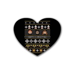 Merry Nerdmas! Ugly Christma Black Background Heart Coaster (4 Pack)  by Onesevenart