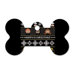 Merry Nerdmas! Ugly Christma Black Background Dog Tag Bone (two Sides) by Onesevenart
