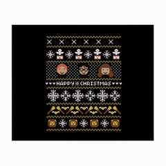 Merry Nerdmas! Ugly Christma Black Background Small Glasses Cloth (2 Side) by Onesevenart