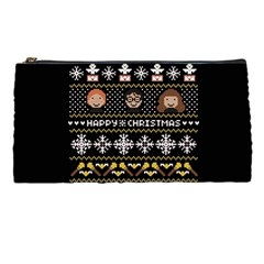 Merry Nerdmas! Ugly Christma Black Background Pencil Cases by Onesevenart