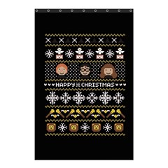 Merry Nerdmas! Ugly Christma Black Background Shower Curtain 48  X 72  (small)  by Onesevenart