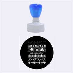 Merry Nerdmas! Ugly Christma Black Background Rubber Round Stamps (medium) by Onesevenart