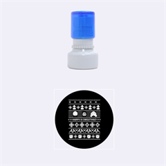 Merry Nerdmas! Ugly Christma Black Background Rubber Round Stamps (small) by Onesevenart
