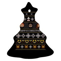 Merry Nerdmas! Ugly Christma Black Background Ornament (christmas Tree) by Onesevenart
