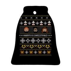 Merry Nerdmas! Ugly Christma Black Background Ornament (bell)  by Onesevenart