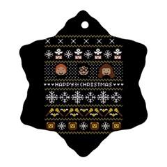 Merry Nerdmas! Ugly Christma Black Background Snowflake Ornament (2 Side) by Onesevenart
