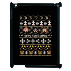 Merry Nerdmas! Ugly Christma Black Background Apple Ipad 2 Case (black) by Onesevenart