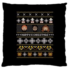 Merry Nerdmas! Ugly Christma Black Background Large Cushion Case (two Sides) by Onesevenart