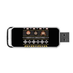 Merry Nerdmas! Ugly Christma Black Background Portable Usb Flash (one Side) by Onesevenart