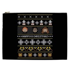 Merry Nerdmas! Ugly Christma Black Background Cosmetic Bag (xxl)  by Onesevenart