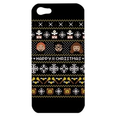 Merry Nerdmas! Ugly Christma Black Background Apple Iphone 5 Hardshell Case by Onesevenart