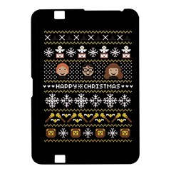 Merry Nerdmas! Ugly Christma Black Background Kindle Fire Hd 8 9  by Onesevenart