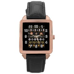 Merry Nerdmas! Ugly Christma Black Background Rose Gold Leather Watch  by Onesevenart