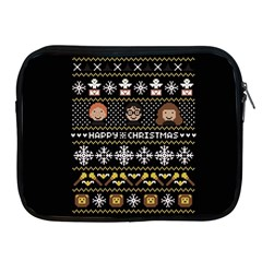 Merry Nerdmas! Ugly Christma Black Background Apple Ipad 2/3/4 Zipper Cases by Onesevenart
