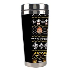 Merry Nerdmas! Ugly Christma Black Background Stainless Steel Travel Tumblers by Onesevenart