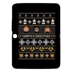 Merry Nerdmas! Ugly Christma Black Background Samsung Galaxy Tab 3 (10 1 ) P5200 Hardshell Case  by Onesevenart