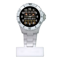Merry Nerdmas! Ugly Christma Black Background Plastic Nurses Watch by Onesevenart