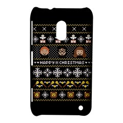 Merry Nerdmas! Ugly Christma Black Background Nokia Lumia 620 by Onesevenart
