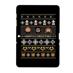 Merry Nerdmas! Ugly Christma Black Background Samsung Galaxy Tab 2 (10 1 ) P5100 Hardshell Case  by Onesevenart
