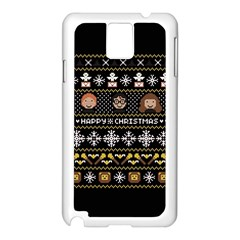 Merry Nerdmas! Ugly Christma Black Background Samsung Galaxy Note 3 N9005 Case (white) by Onesevenart