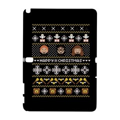 Merry Nerdmas! Ugly Christma Black Background Samsung Galaxy Note 10 1 (p600) Hardshell Case by Onesevenart