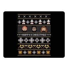 Merry Nerdmas! Ugly Christma Black Background Double Sided Fleece Blanket (small)  by Onesevenart