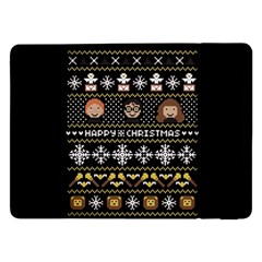 Merry Nerdmas! Ugly Christma Black Background Samsung Galaxy Tab Pro 12 2  Flip Case by Onesevenart