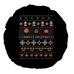 Merry Nerdmas! Ugly Christma Black Background Large 18  Premium Flano Round Cushions by Onesevenart