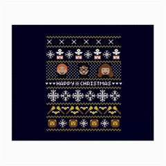 Merry Nerdmas! Ugly Christmas Blue Background Small Glasses Cloth (2 Side) by Onesevenart