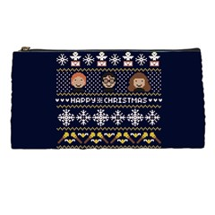 Merry Nerdmas! Ugly Christmas Blue Background Pencil Cases by Onesevenart