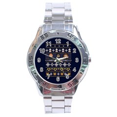 Merry Nerdmas! Ugly Christmas Blue Background Stainless Steel Analogue Watch by Onesevenart