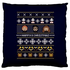 Merry Nerdmas! Ugly Christmas Blue Background Large Cushion Case (two Sides) by Onesevenart