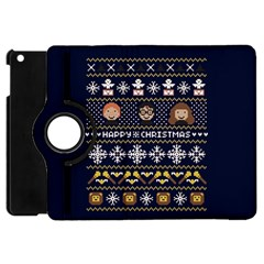 Merry Nerdmas! Ugly Christmas Blue Background Apple Ipad Mini Flip 360 Case by Onesevenart