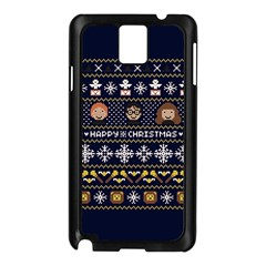 Merry Nerdmas! Ugly Christmas Blue Background Samsung Galaxy Note 3 N9005 Case (black) by Onesevenart