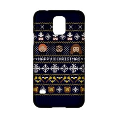 Merry Nerdmas! Ugly Christmas Blue Background Samsung Galaxy S5 Hardshell Case  by Onesevenart