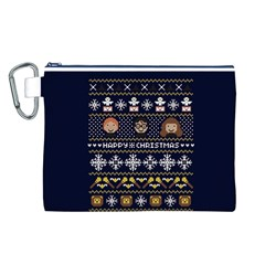 Merry Nerdmas! Ugly Christmas Blue Background Canvas Cosmetic Bag (l) by Onesevenart