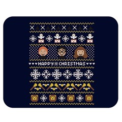 Merry Nerdmas! Ugly Christmas Blue Background Double Sided Flano Blanket (medium)  by Onesevenart