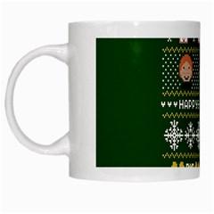 Merry Nerdmas! Ugly Christma Green Background White Mugs by Onesevenart