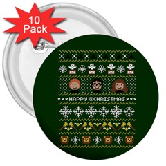 Merry Nerdmas! Ugly Christma Green Background 3  Buttons (10 pack)  by Onesevenart