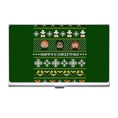 Merry Nerdmas! Ugly Christma Green Background Business Card Holders by Onesevenart