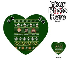 Merry Nerdmas! Ugly Christma Green Background Playing Cards 54 (heart)  by Onesevenart