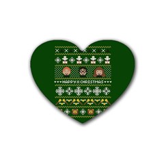 Merry Nerdmas! Ugly Christma Green Background Rubber Coaster (heart)  by Onesevenart