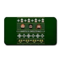Merry Nerdmas! Ugly Christma Green Background Medium Bar Mats by Onesevenart