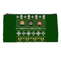 Merry Nerdmas! Ugly Christma Green Background Pencil Cases by Onesevenart