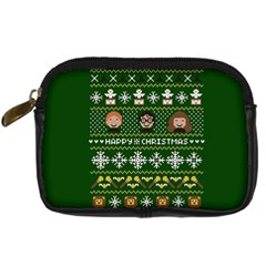 Merry Nerdmas! Ugly Christma Green Background Digital Camera Cases by Onesevenart