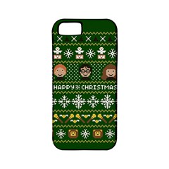 Merry Nerdmas! Ugly Christma Green Background Apple Iphone 5 Classic Hardshell Case (pc+silicone) by Onesevenart