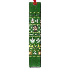 Merry Nerdmas! Ugly Christma Green Background Large Book Marks by Onesevenart